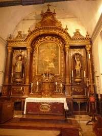 Eglise. Choeur. Vue générale du maître-autel et du retable.