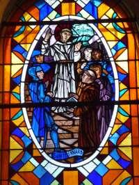 Eglise de Quetteville. St Bernard. Vitrail signé Werrier et daté 1949
