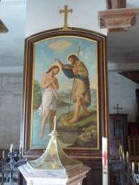Le Sap, église St-Pierre-St-Paul, Le Baptême du Christ, huile sur toile par E. Camus datée 1879